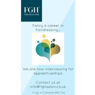 We are looking for an apprentice!! Our current apprentice Penny is nearing the end of her qualification & we're excited that she'll soon be working as a stylist in the salon 💇🏼♀️🙌🏻 If you're interested in joining our professional, friendly team please drop us an email...we'd love to meet you. Or if you know someone that might be looking to start a career in hairdressing please share this post with them. Thank you 😊#apprenticeship #newcareer #fghsaloncoltishall