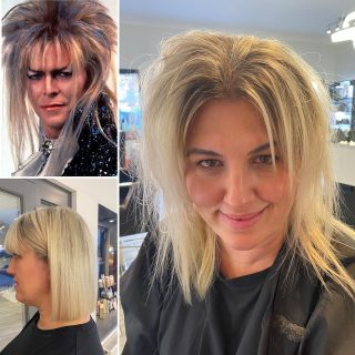 After realising @kayley_glen was bearing a resemblance to the Goblin King we thought we better get our hands on her slightly neglected barnet 🤣   @lorealpro @innoluxeuk @davines_uk   #labyrinth #davidbowie #goblinking #lobhaircut #blondehair #greyhair #fringe #precisioncut #hairstyles #hairinspo #hairideas #norwichhair #norwichhairdressers #coltishall #fghsaloncoltishall