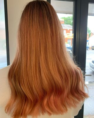 💗Peachy coral balayage💗  Colour & Cut by Donna   #hairdressing #baylagehighlights #balyage #crazycolour #norwichsalon #smallbusiness #colourchange